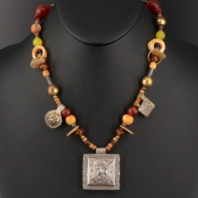Southeast Asian Sterling Silver Gemstone Lion Amulet Necklace