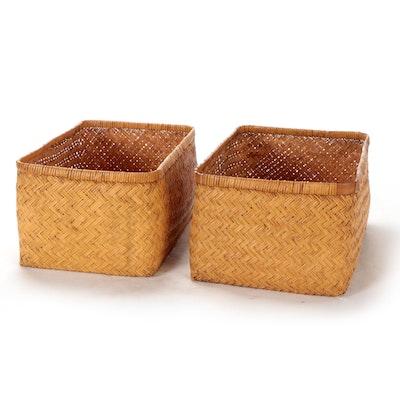 Handwoven Stranded Wicker Nesting Baskets