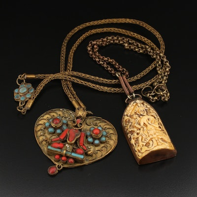 Lord Shiva Necklaces Including Turquoise, Coral and Bone