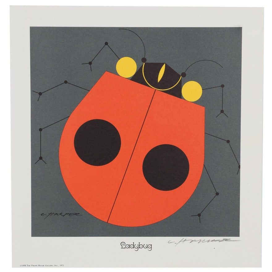"Charley Harper Color Lithograph ""Ladybug,"" 1972"