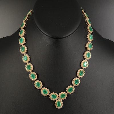 14K Emerald and 4.25 CTW Diamond Necklace