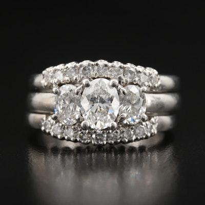 Platinum 2.47 CTW Diamond Ring Set