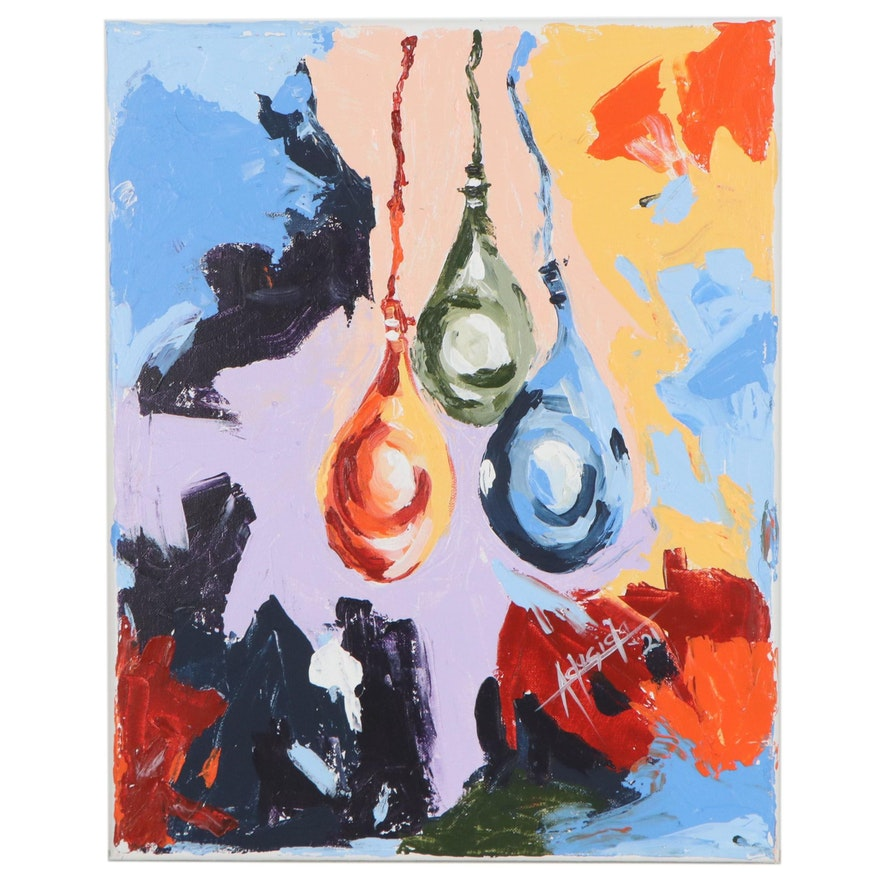"Adedotun Adesida Acrylic Painting ""Celebration,"" 2021"