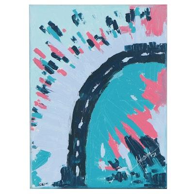 "Adedotun Adesida Acrylic Painting ""Broad Street,"" 2021"