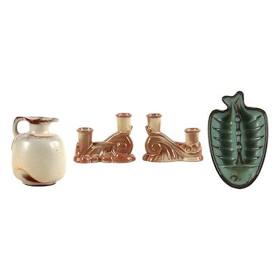 Frankoma Pottery Plainsman Candleholders, Fish Ashtray, and Honey Jug