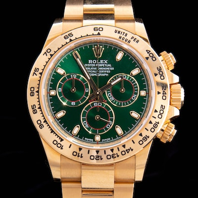2018 Rolex Cosmograph Daytona 18K Yellow Gold and Green Dial Wristwatch