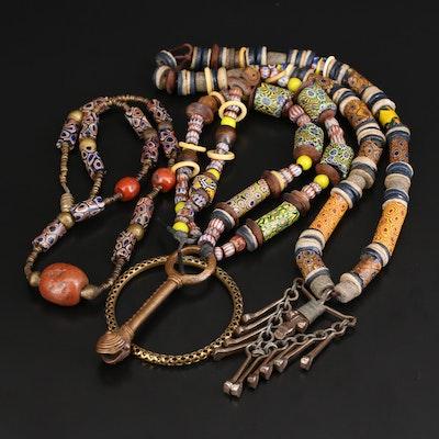 Lenore Szesko Necklaces Including Venetian Millefiori Trade Beads