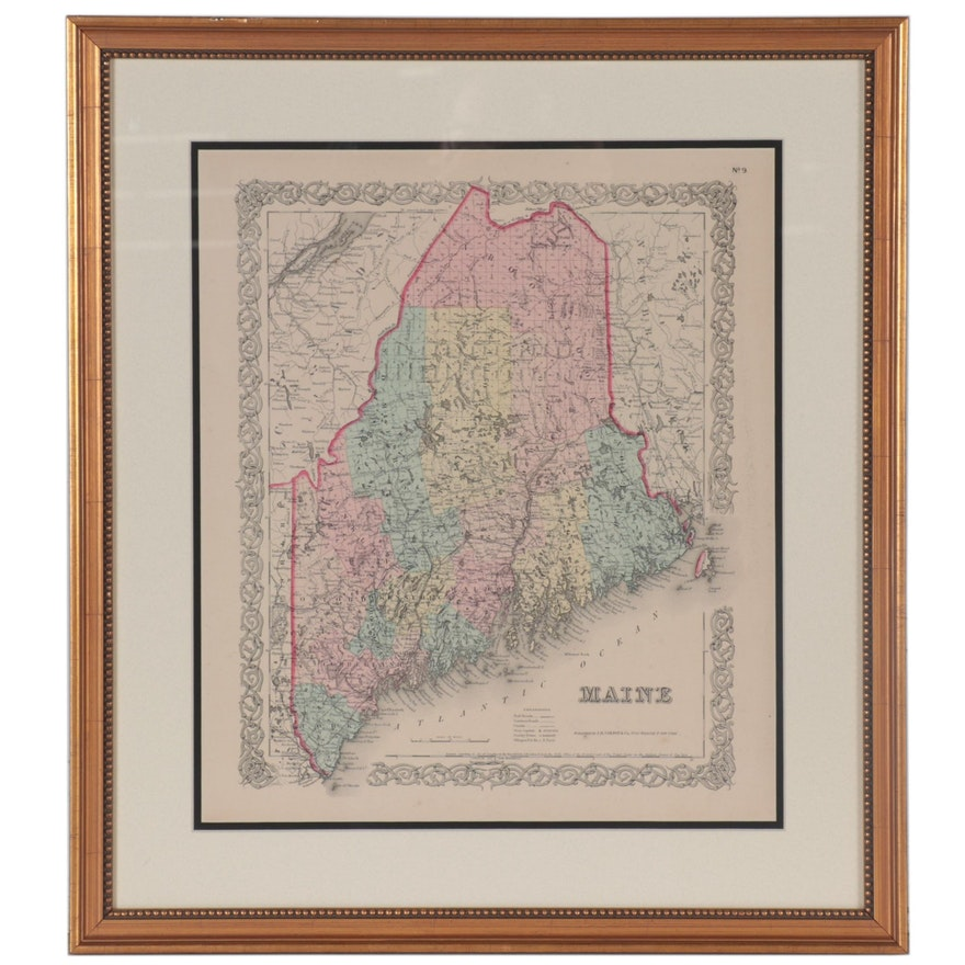 J. H. Colton & Co. Wood Engraving Map of Maine, Late 19th Century
