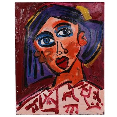 Peter Keil Acrylic Portrait of a Woman, 1975
