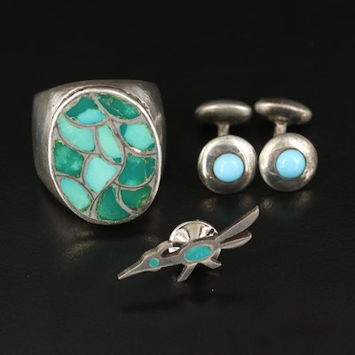 Southwestern Turquoise Inlay Jewelry Including Roadrunner Tie Tack and Sterling