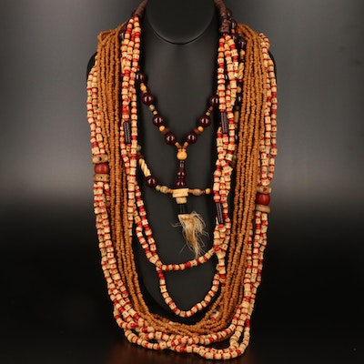 West African Necklaces Including Wood, Seeds and Glass