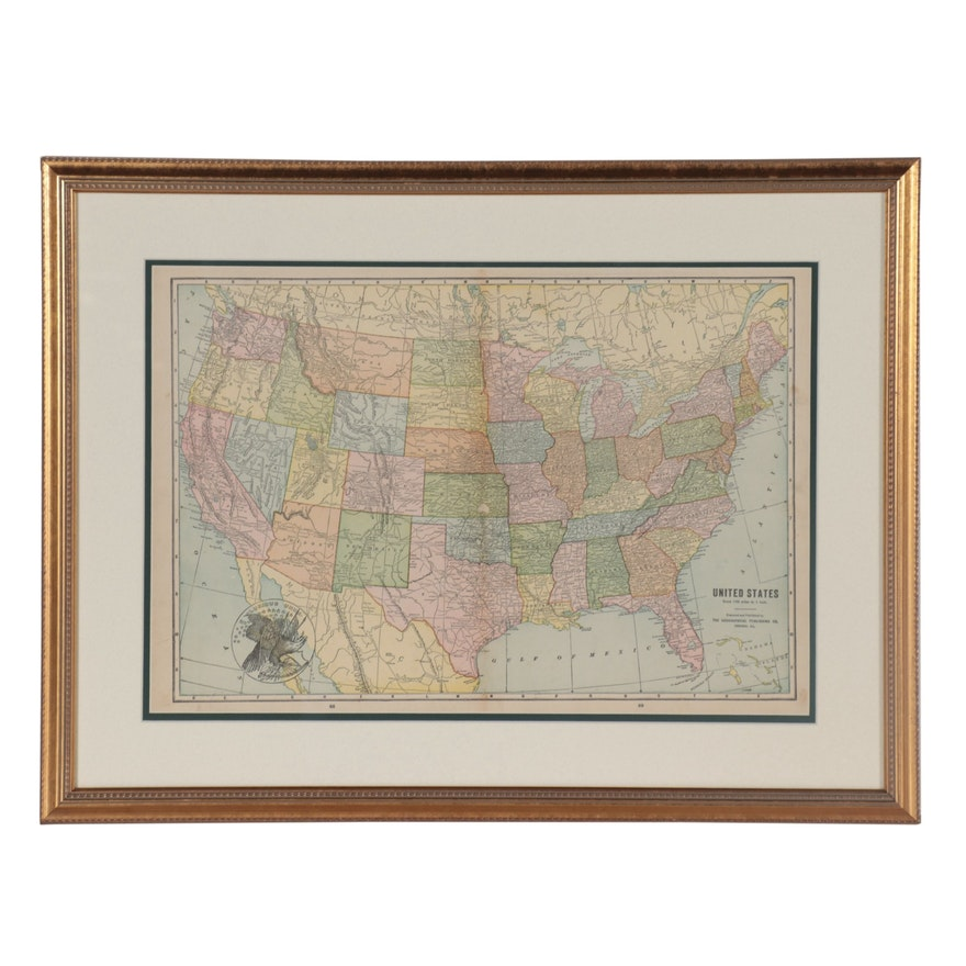 The Geographical Publishing Co. Wood Engraving Map of the United States