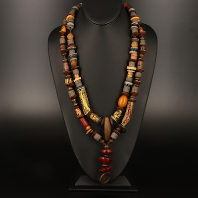 Lenore Szesko Necklaces Including Trade Beads, Wood, Bone and Glass