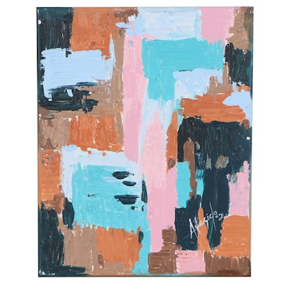 """Adedotun Adesida Abstract Oil Painting """"Patches 2"""""""