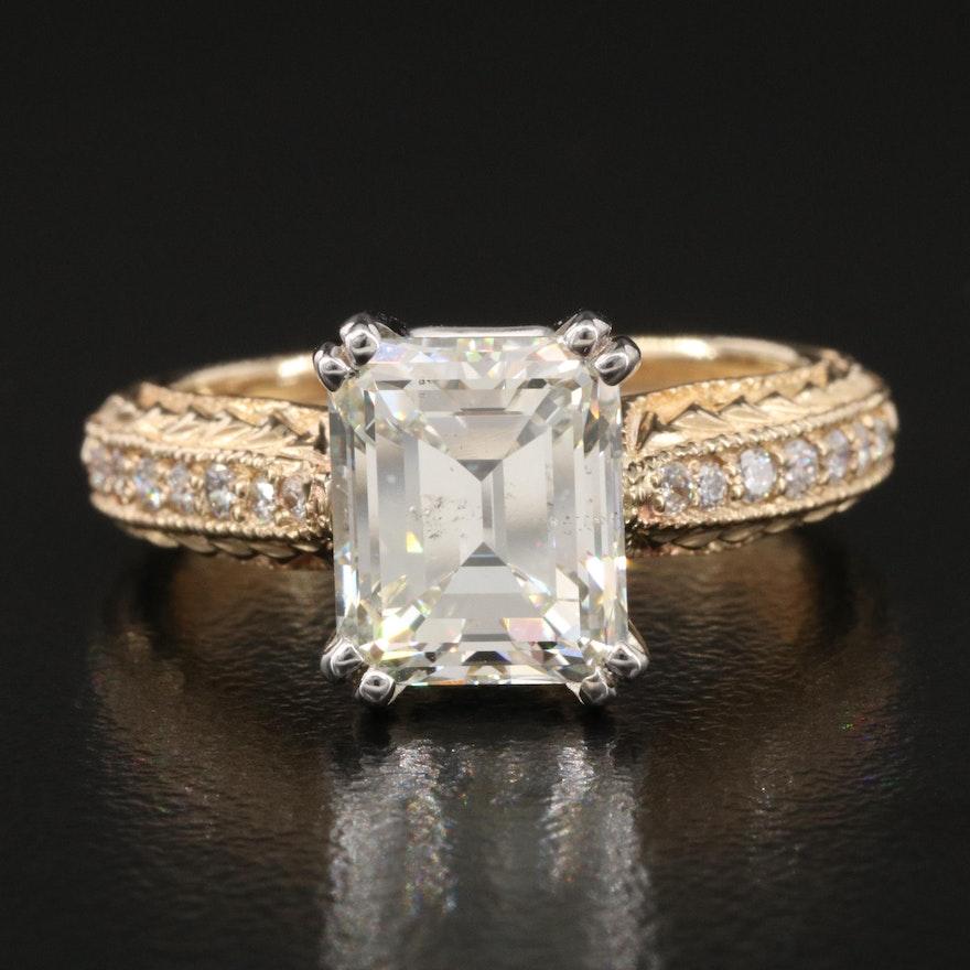 14K 3.24 CTW Diamond Ring with GIA Report