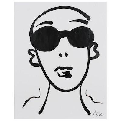 Peter Keil Acrylic Portrait of Figure in Sunglasses