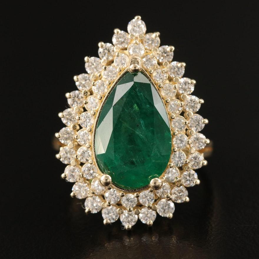 14K 3.08 CT Emerald and 1.28 CTW Diamond Ring