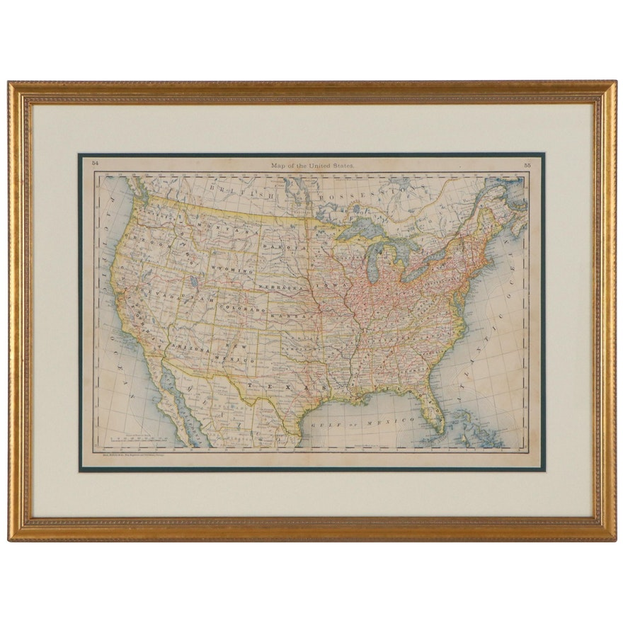 Rand, McNally & Co. Wood Engraving of the United States, Late 19th Century