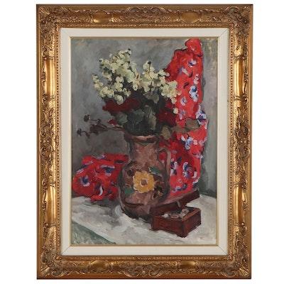 "Georgi A. Sretenski Oil Painting ""Natura Morta,"" 1962"