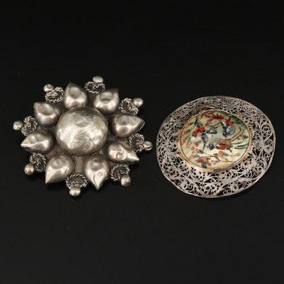 Antique Persian Shell Filigree Brooch with Buddhist Lotus Flower Brooch