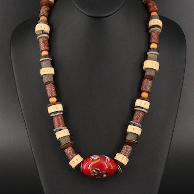 Lenore Szesko Trade Bead and Bone Necklace Featuring Venetian Beads