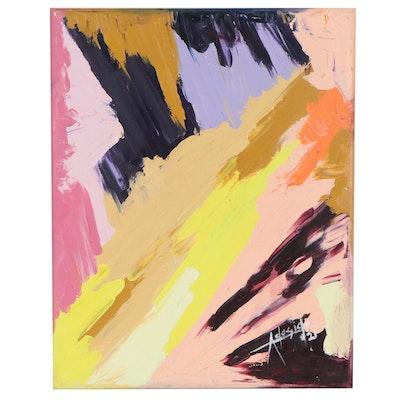 """Adedotun Adesida Abstract Oil Painting """"Blast,"""" 2021"""