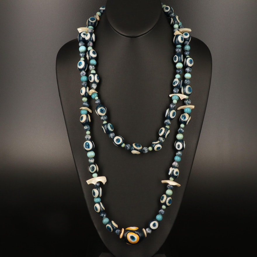 Turkish Glass, Shell and Mother of Pearl Stratified Evil Eye Necklaces