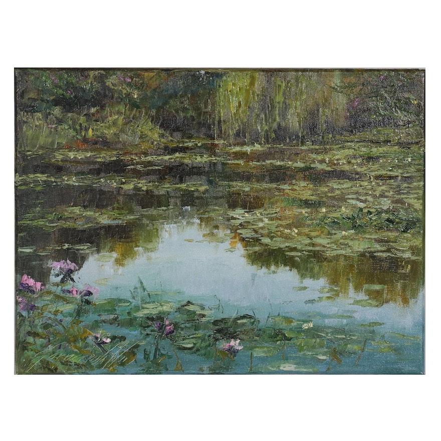 "Garncarek Aleksander Oil Painting ""Nad Stawem,"" 2021"