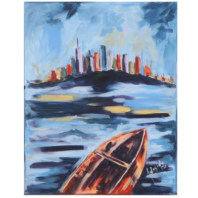 "Adedotun Adesida Oil Painting ""City-Scape"""