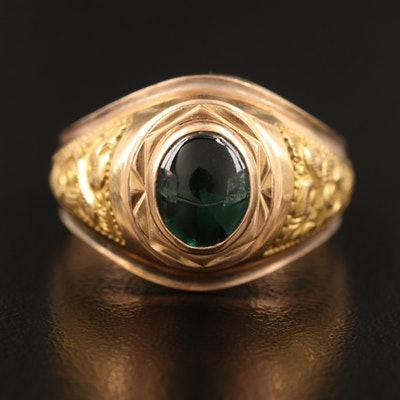 18K Spinel Ring with Repoussé Shoulders