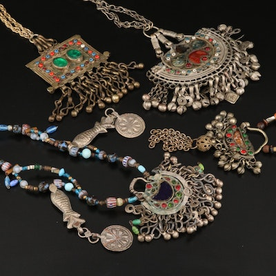 Indian Shell and Glass Kuchi Tribal Necklaces