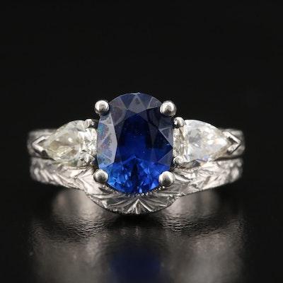Platinum 2.11 CT Sapphire and Diamond Ring