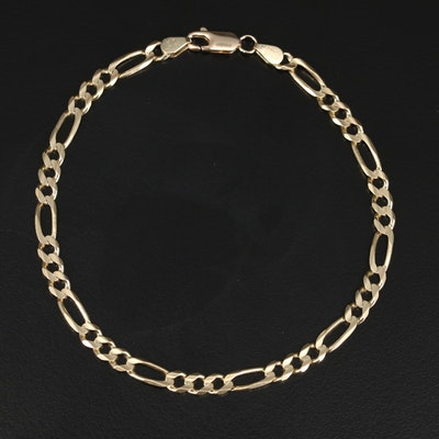 14K Figaro Chain Link Bracelet