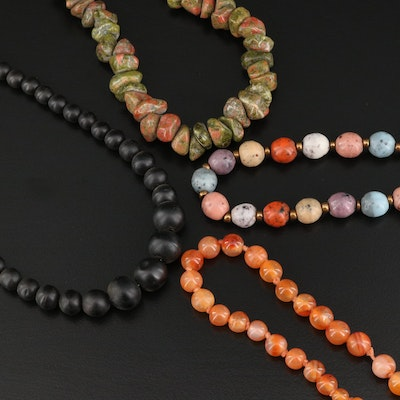Bead Necklaces Including Agate and Unakite