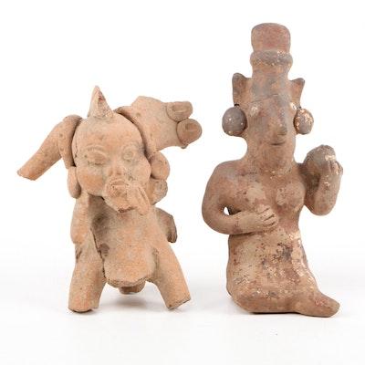 Pre-Columbian Nayarit Seated Ceramic Figure and Veracruz Ceramic Figure