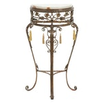 Scrolled and Foliate Wrought Metal with Onyx Top Demilune Hall Table