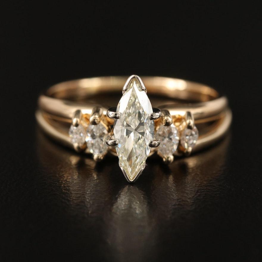 14K Diamond Solitaire Ring with Diamond Contour Band