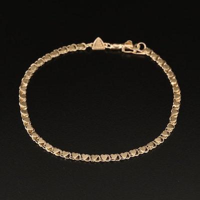Beverly Hills Gold 14K Heart Link Bracelet