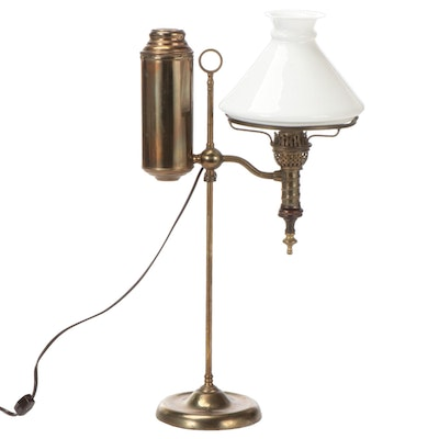Manhattan Brass Converted Student Oil Lamp, Late 19th Century and Converted