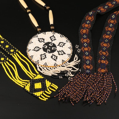 Northern Plains Style Bone, Leather and Glass Beaded Necklaces