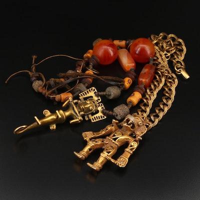 Gemstone Necklaces with Alva Studios Musuems Reproduction Figural Pendants
