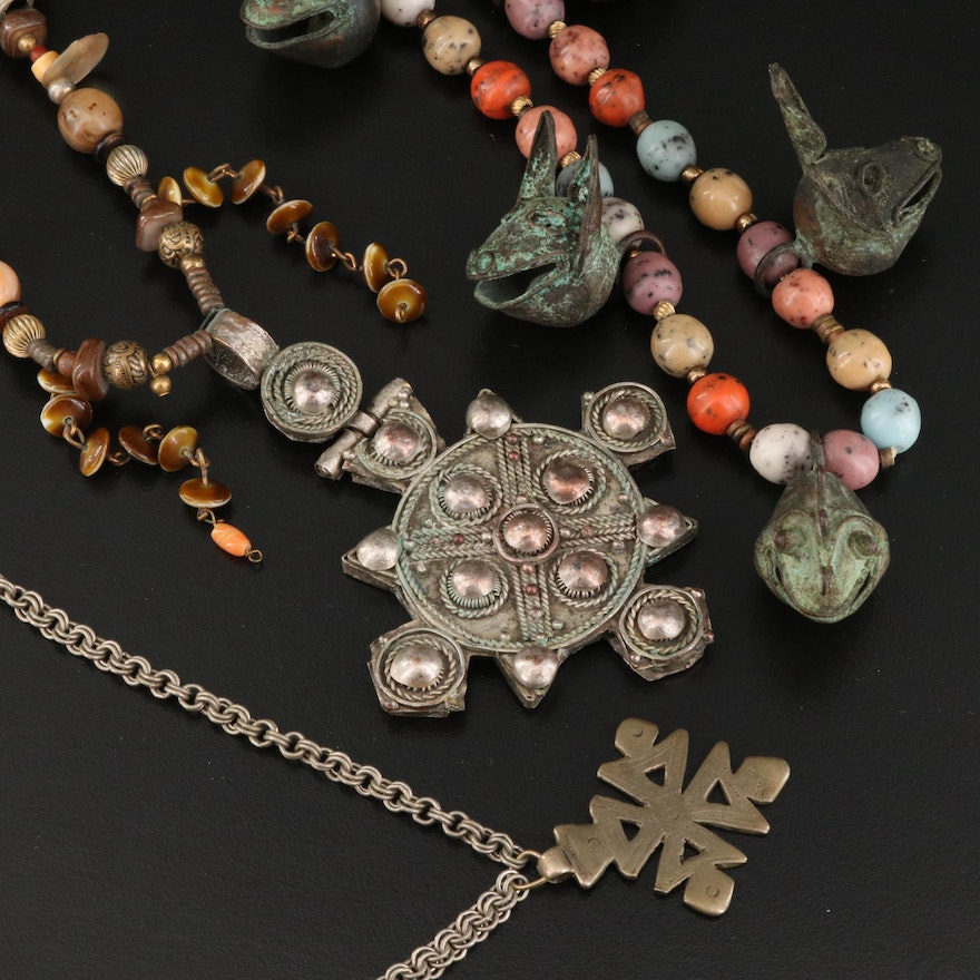 African Necklaces Including Ethiopian Cross