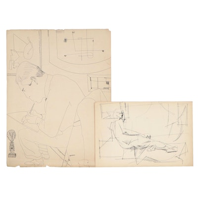 W. Glen Davis Abstract Ink Drawings of Seated Figure and Reclining Figure
