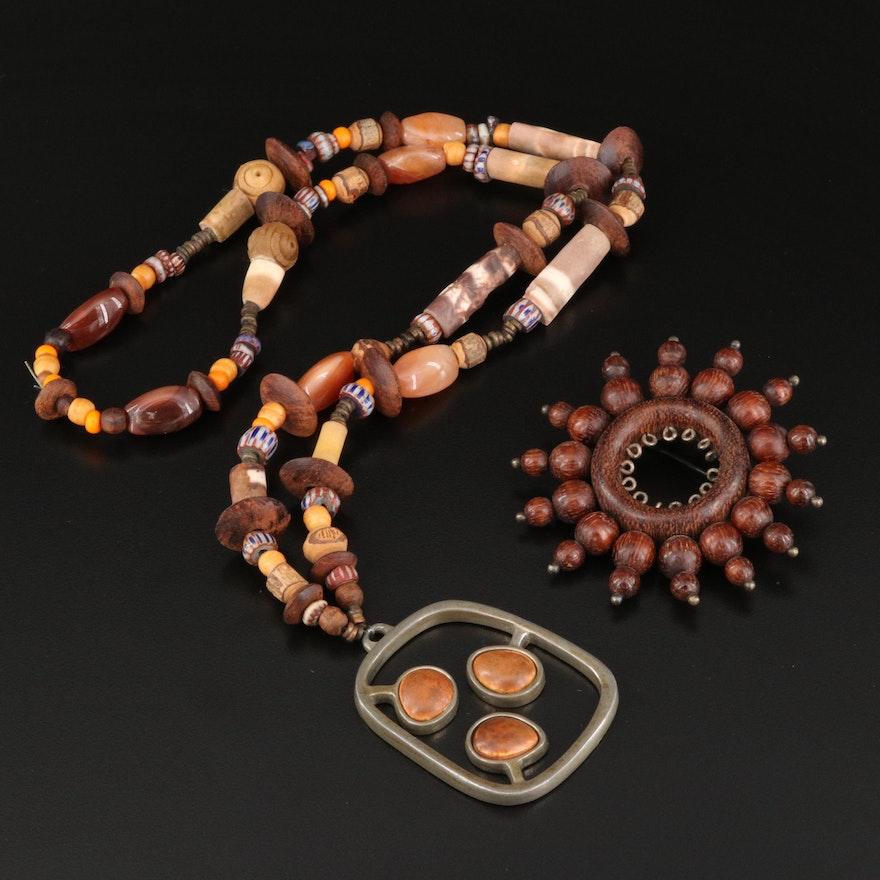Vintage Scandinavian Jewelry Including Aarika Brooch and R. Landerholm Pendant
