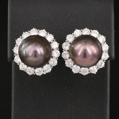 Platinum Natural Pearl and 2.80 CTW Diamond Earrings with GIA Pearl ID Report