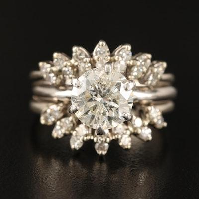 14K and Platinum 3.37 CTW Diamond Ring