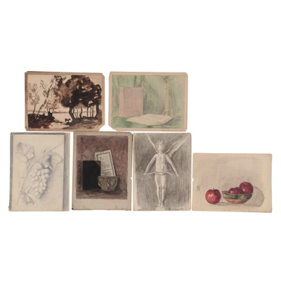 Inger Rasmussen Drawings and Watercolor Paintings, Mid-Late 20th Century