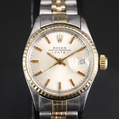 1969 Rolex Date 14K Yellow Gold and Stainless Steel Automatic Wristwatch