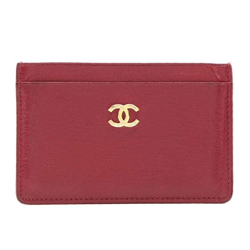 Chanel Card Holder Wallet in Red Grained Deerskin Leather