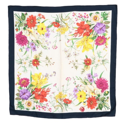 Gucci Flora Printed Silk Twill Scarf